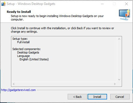Install Gadgets in Windows 10