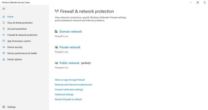 Firewall - Windows 10 Security Features