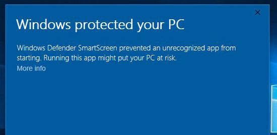 SmartScreen - Windows 10 Security Features