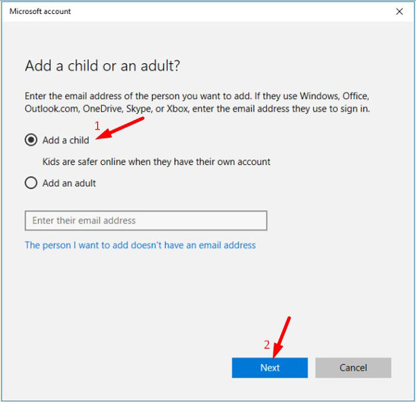 Add a Child in Windows 10