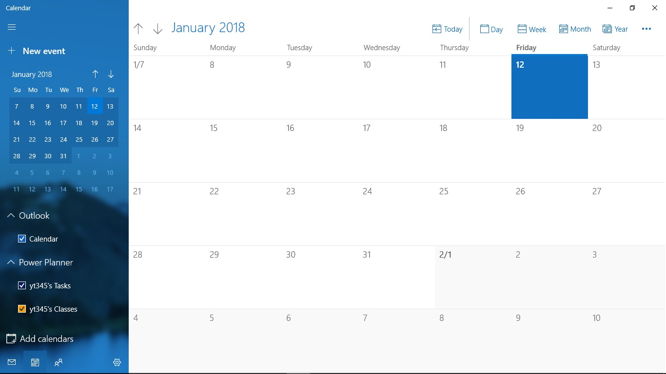 Windows 10 Inbuilt Calendar