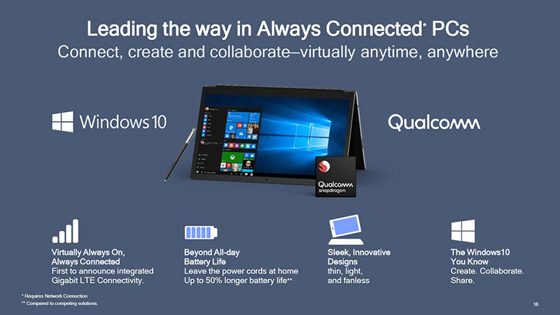 always connected pcs - Windows 10 on ARM