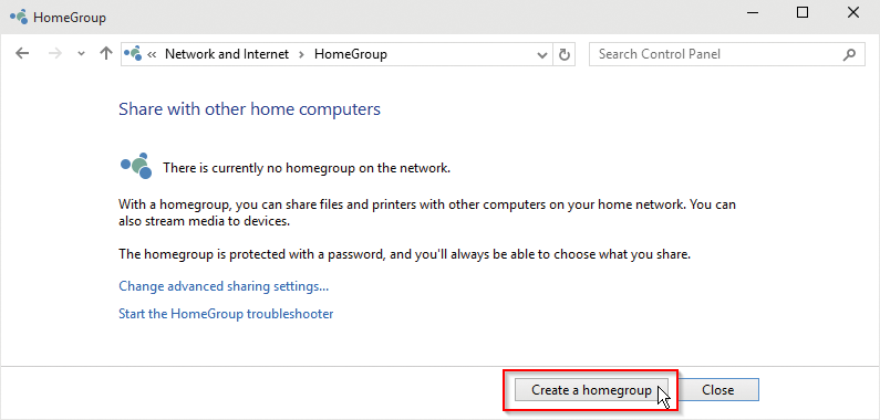 Create HomeGroup