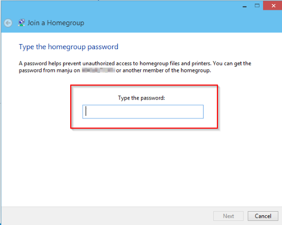Enter HomeGroup Password - Connecting Two Computers via Ethernet