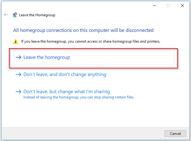 Leave HomeGroup - Connect Two Computers via Ethernet
