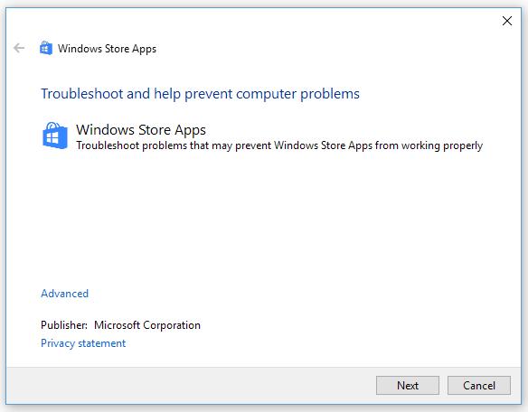 Microsoft Store troubleshooter