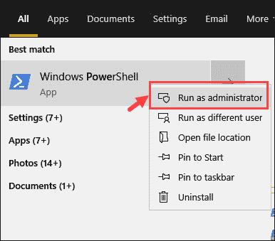 Run PowerShell as admin