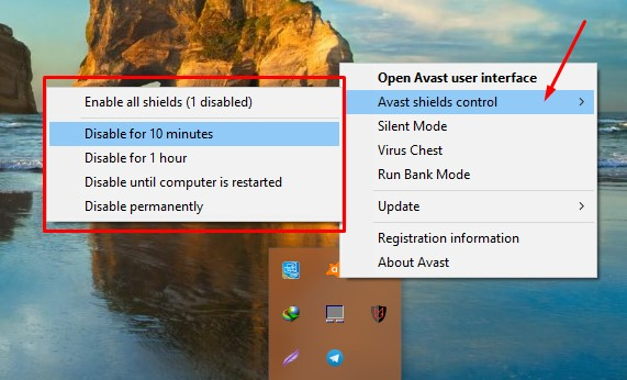 how to disable avast temporarily windows 8