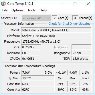 Core Temp - Computer CPU Temperature Monitoring Programs
