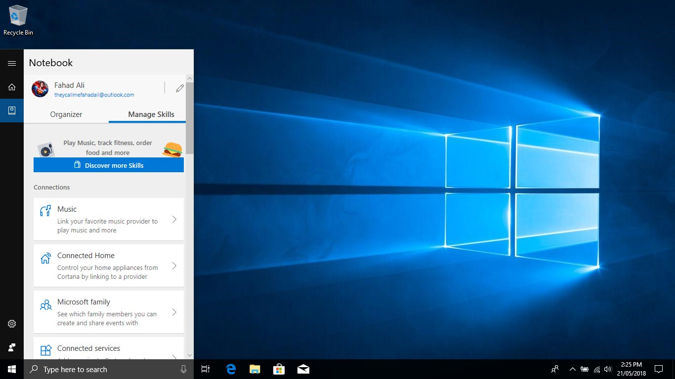Cortana Notebook Skills