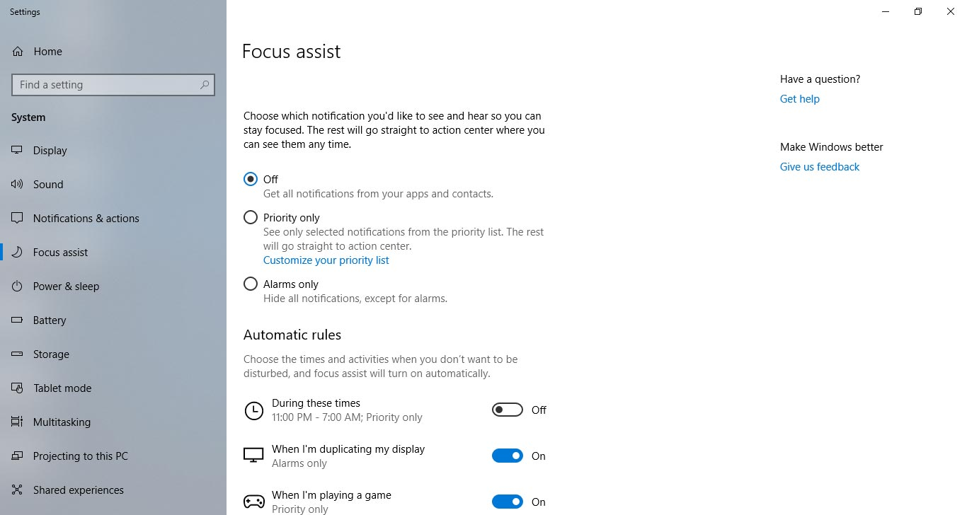 Focus Assist - Windows 10  April 2018 Update Review
