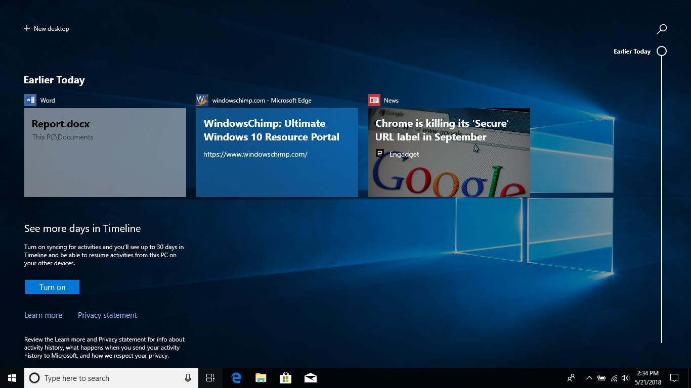 Timeline - Windows 10 April Update Review