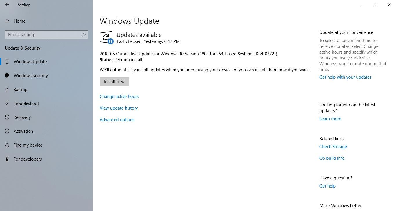 Windows Update - Windows 10 April 2018 Update Review