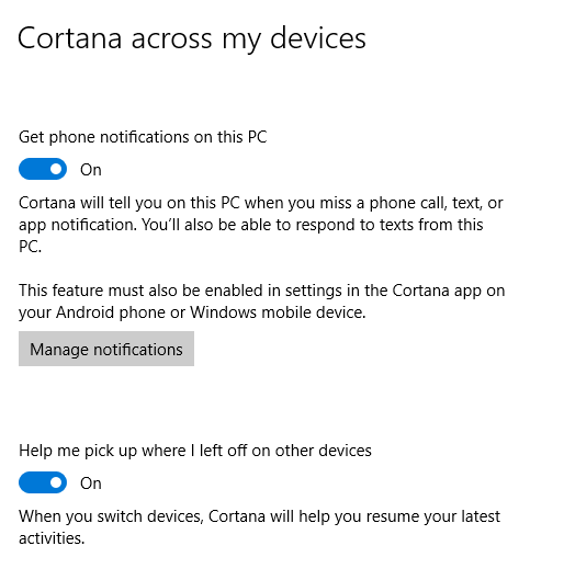 Cortana across device notifications