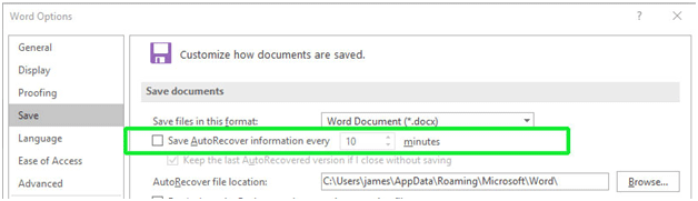 Reduce Word File Size - Turn Off Auto-Recovery