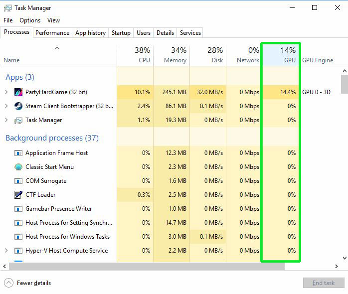 GPU Usage in Task Manager