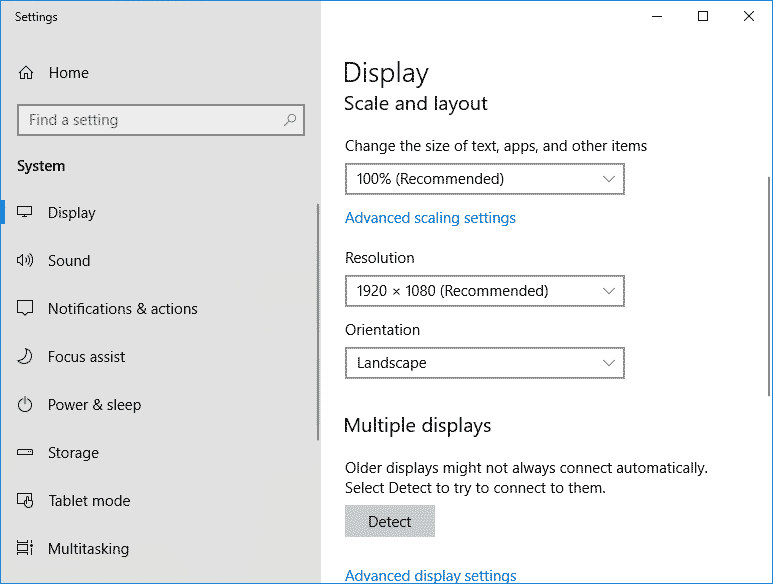 Windows 10 Screen Rotation- Display Setting