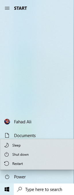 Power options in Start menu