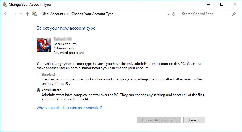 Windows 10 Account Type
