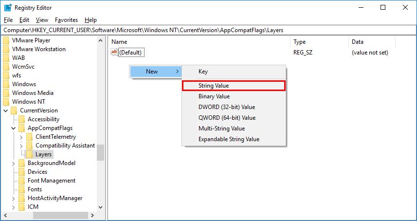 new string in registry Editor