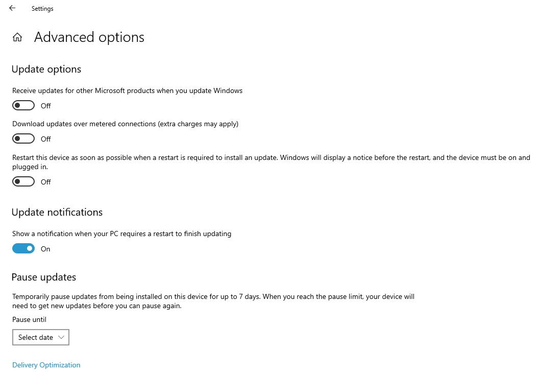 update options