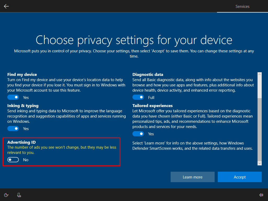 Windows 10 Setup Advertising Option