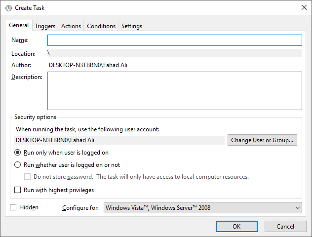 Create Task - Fix Windows 10 Annoyances