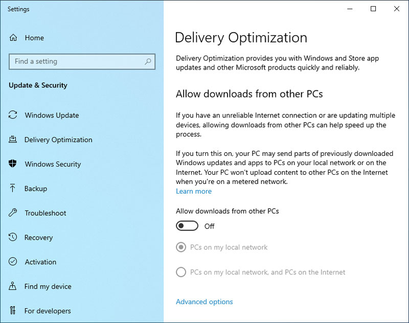 Delivery Optimization - Windows 10 Tweaks