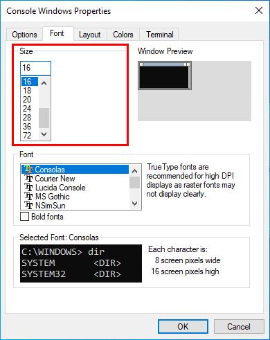Command Prompt font size