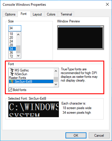 Command Prompt font style