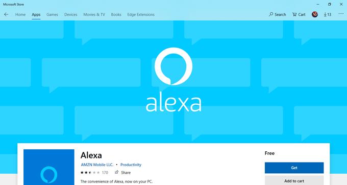 Alexa App on Microsoft Store