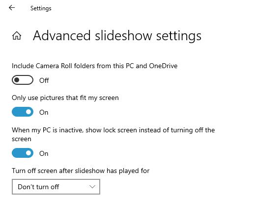 advanced slideshow settings