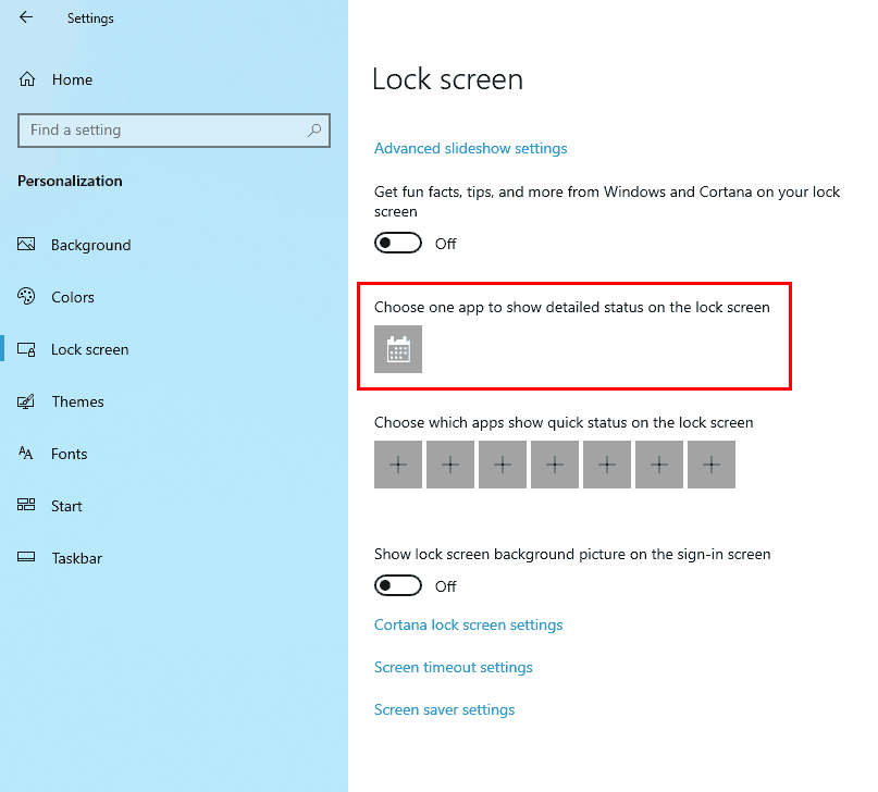 detailed status on lock screen