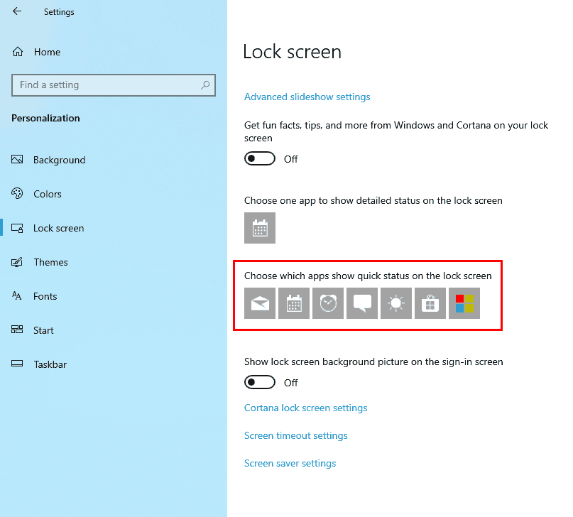 quick status on lock screen