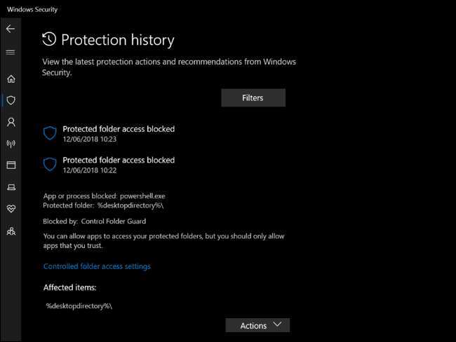 protection history pane