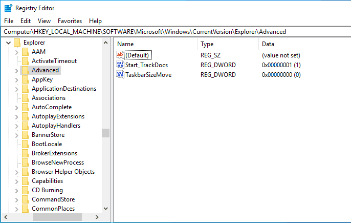 registry editor for transparent taskbar