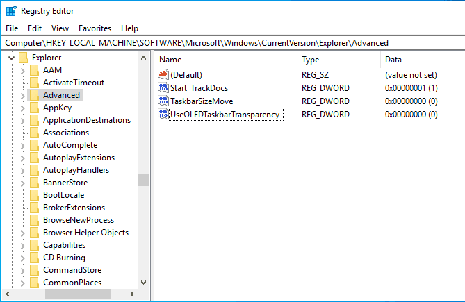registry editor transparency key