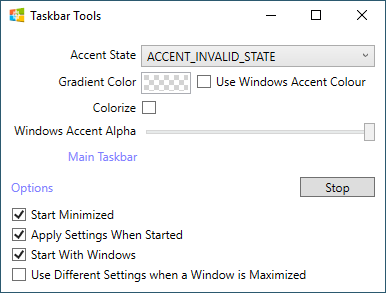 taskbartool options