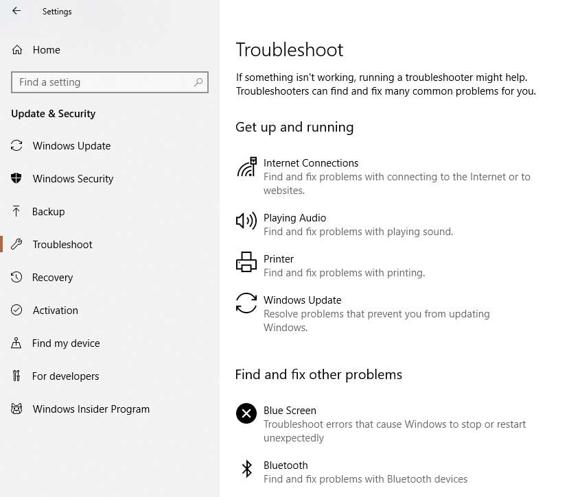 troubleshoot windows-10