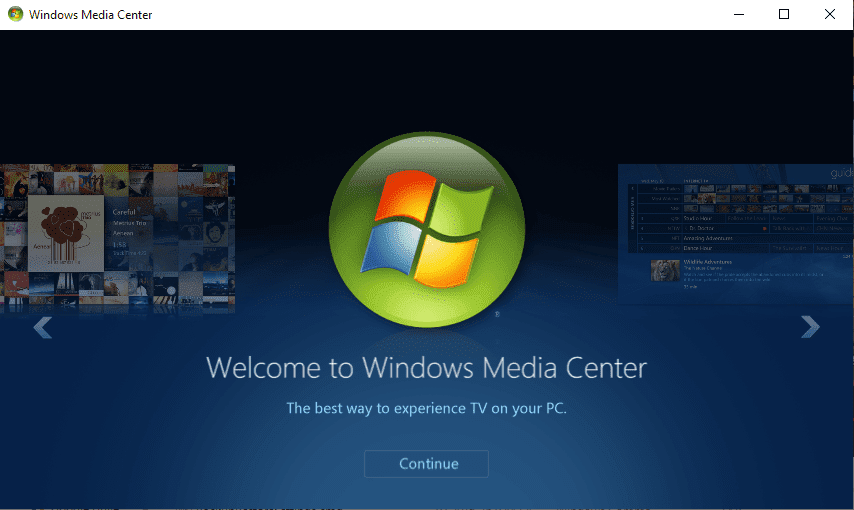 welcome to windows media center