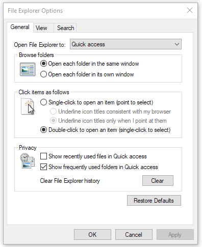 file explorer options - general