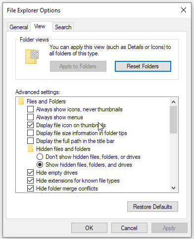 files explorer options - view