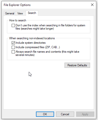 file explorer options - search