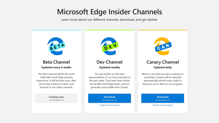 Chromium Edge Insider Channels