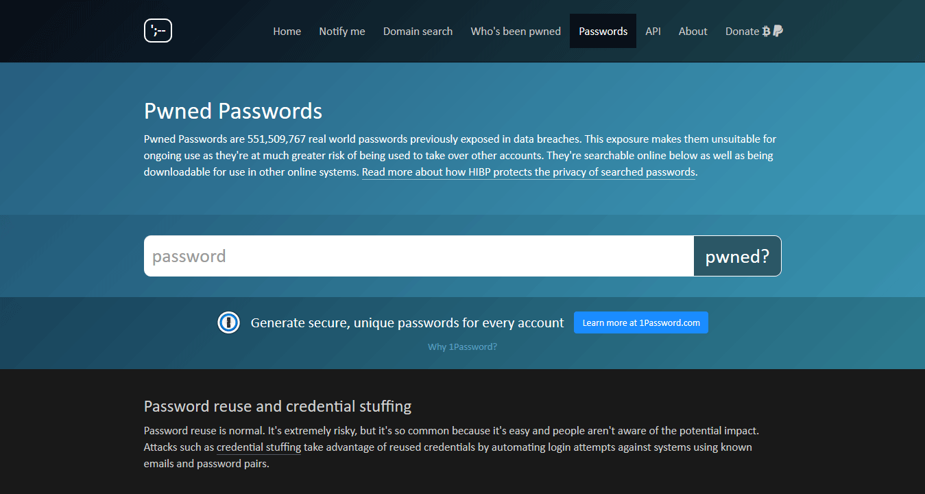 Have I Been Pwned Passwords