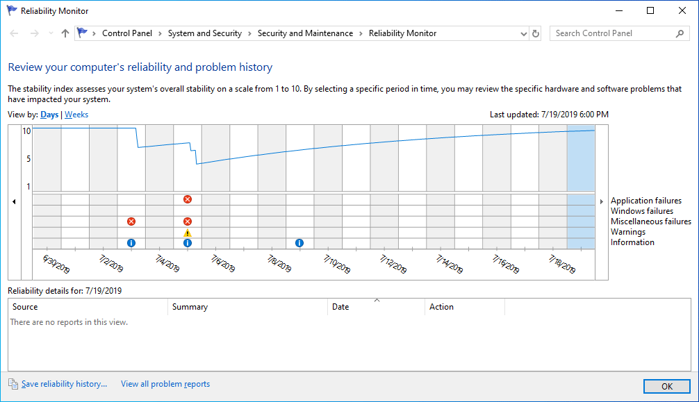 Reliability Monitor to Check Health of PC
