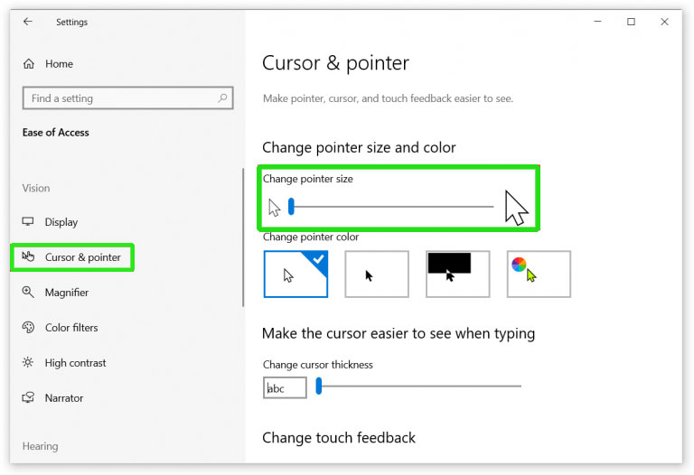 chnage the size and color of a mouse pointer in windows 10