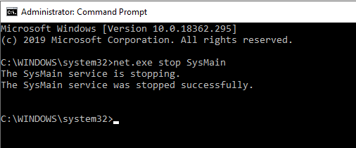 Stop SysMain service in Windows 10