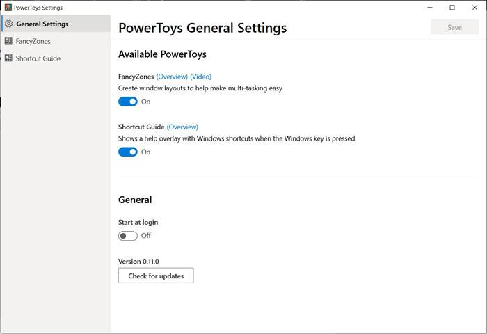 PowerToys General Settings