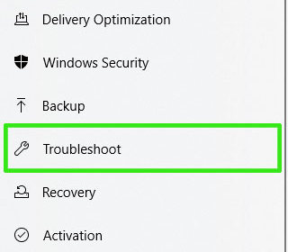 Troubleshoot-option
